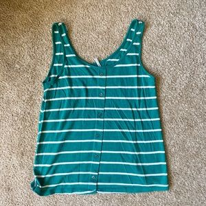 Vintage green and off white tank top